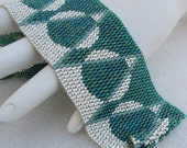 Dissections in Green and Silver Peyote Cuff (2460)