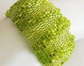 Large Chartreuse Ripples Peyote Cuff / Peyote Bracelet (2511) - A Sand Fibers Made-to-Order Creation