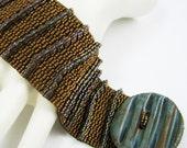Ridged Transitions in Bronze and Aqua  Peyote Cuff / Peyote  Bracelet (2603) - A Sand Fibers Creation