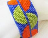 Snaking Along in Chartreuse and Orange (on Purple) Peyote Cuff Bracelet (2255) - A Sand Fibers Creation