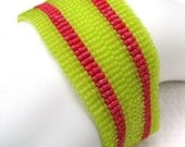 Girls Just Wanna Have Fun with Lime and Raspberry Peyote Cuff (2263) - A Sand Fibers Creation
