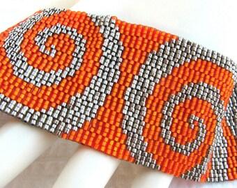 Mirrored Orange Swirls on Steel Peyote Cuff / Peyote Bracelet (2360) - A Sand Fibers Made-to-Order  Creation