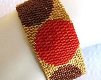 Elegant Polka Dots on Gold Peyote Cuff (2174)