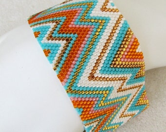 Summer Abstract Peyote Cuff / Peyote Bracelet (2476) - A Sand Fibers Made-to-Order Creation