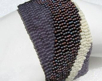 Plumlicious Color Ribbon Peyote Cuff Bracelet (2480)