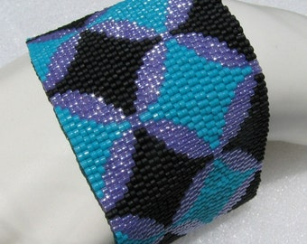 Cathedral Windows in Turquoise, Black, and Violet Peyote Cuff (2495) - A Sand Fibers Creation