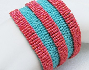 Totally Tropical Architecture Peyote Cuff Bracelet (2501) - A Sand Fibers Creation