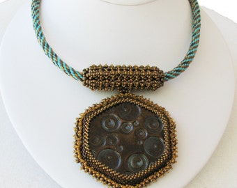 The Savannah  - A Necklace in Beads and Fiber (2503)