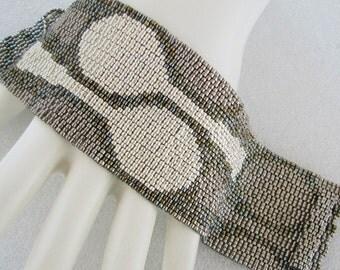Silver Spoons Peyote Cuff Bracelet (2508) - A Sand Fibers Creation