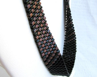 Black and Bronze Beaded Peyote  Ribbon Necklace (2527) - A Sand Fibers Made-to-Order Creation