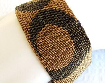 Wide Bronze Peyote Cuff (2139) - A Sand Fibers Creation