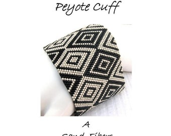 Peyote Pattern - Cubism Diamonds Peyote Cuff / Peyote Bracelet  - A Sand Fibers For Personal Use Only PDF Pattern - 3 for 2