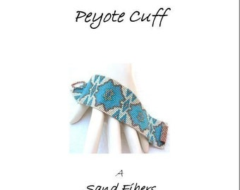 Peyote Pattern - Cactus Blossoms Peyote Cuff / Bracelet - A Sand Fibers For Personal Use Only PDF Pattern - 3 for 2 Savings Program