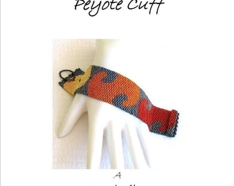 Peyote Pattern - Hot August Nights Peyote Cuff / Peyote Bracelet  - A Sand Fibers For Personal Use Only PDF Pattern - 3 for 2