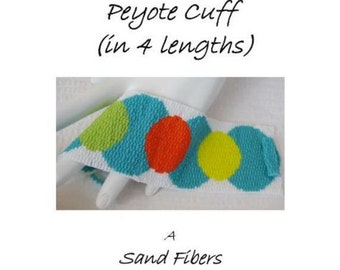 Peyote Pattern - Citrus Medallions Cuff / Bracelet - A Sand Fibers For Personal Use Only PDF Pattern - 3 for 2 Savings Program