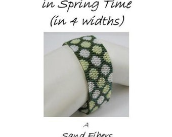 Peyote Pattern - Going Dotty in Spring Time Peyote Cuff / Bracelet  (in 4 widths) - A  For Personal Use Only PDF Pattern - 3 for 2 Savings