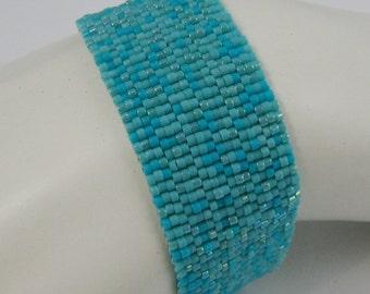 Turquoise, Turquoise, Turquoise Peyote Cuff Bracelet (2017)
