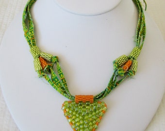 Beta Carotene Peyote Triangle Fiber Necklace (2259) - An Original OOAK Sand Fibers Creation