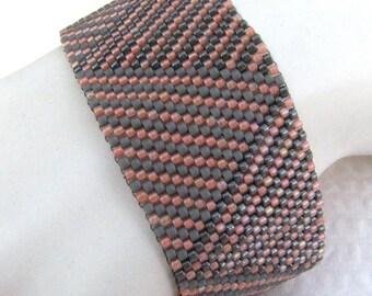 Peach and Greys Log Cabin Braid Peyote Cuff Bracelet (2369) - A Sand Fibers Creation