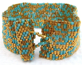 Gold and Turquoise Peyote Cuff (2124)