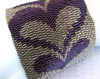 Modern Bargello Hearts Peyote Cuff (2350)