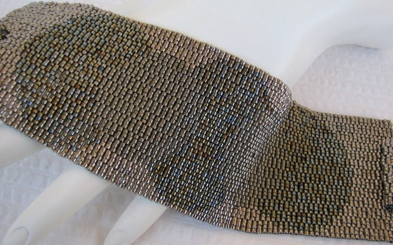Steel Medallions Peyote Cuff Bracelet (2366)