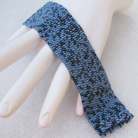 Uptown Denim Peyote Cuff Bracelet (2469) -  A Sand Fibers Creation