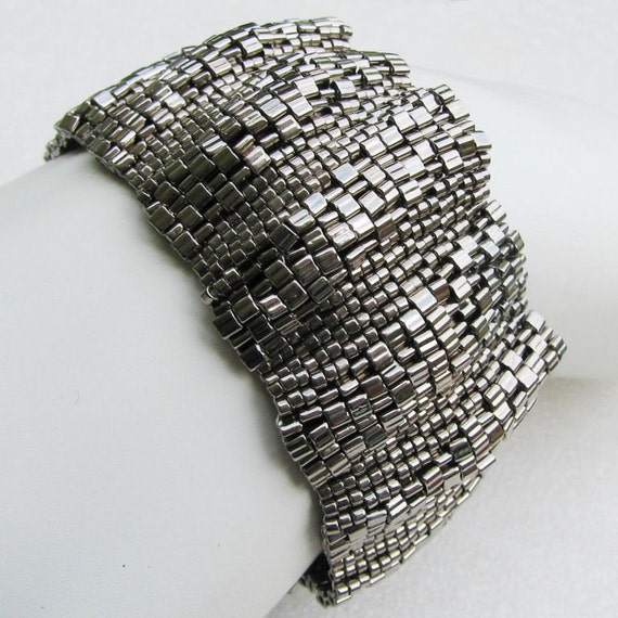 Corrugated Steel Peyote Cuff