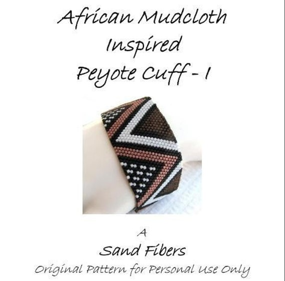 Peyote Pattern - African Mudcloth Inspired I Cuff /  Bracelet - A Sand Fibers For Personal Use Only PDF Pattern - 3 for 2 Savings Program