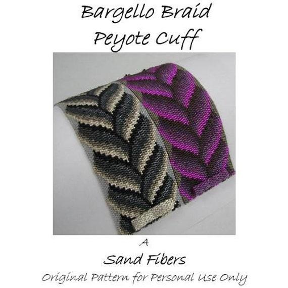 Peyote Pattern - Bargello Braid Peyote Cuff / Peyote Bracelet  - A Sand Fibers Original Beadweaving Pattern - 3 for 2 Program