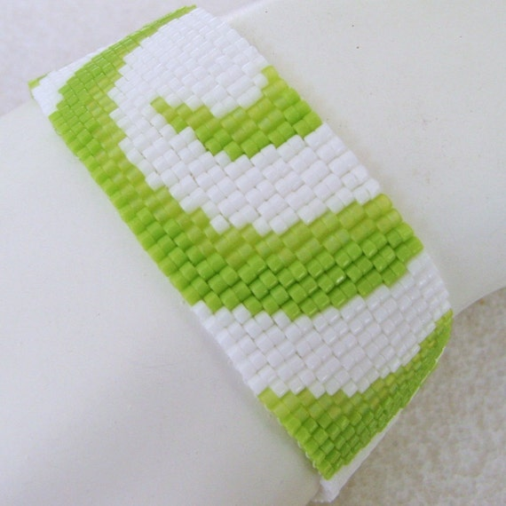 Partial Lime Swirls Peyote Cuff Bracelet (2242)