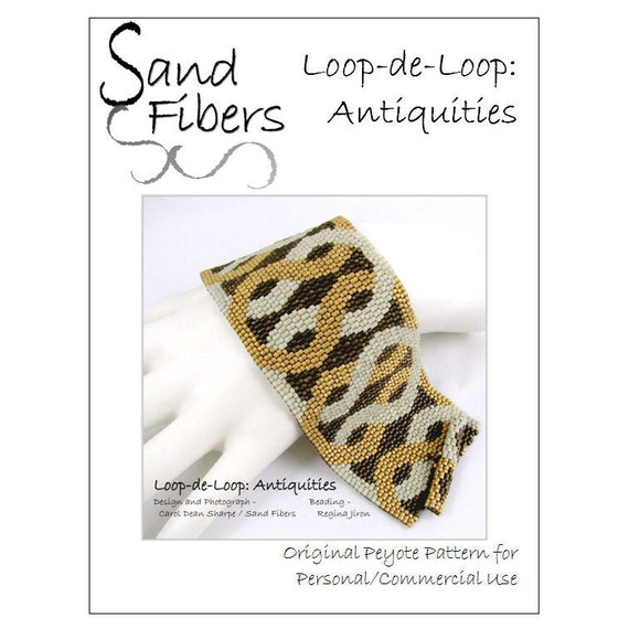 Peyote Pattern - Loop-de-Loop: Antiquities Peyote Cuff / Bracelet  - A Sand Fibers For Personal/Commercial Use PDF Pattern