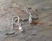 Molten Silver Earrings - Swarovski Crystal and Sterling Silver