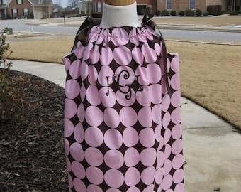 Custom Boutique Pink Brown Pillowcase Dress