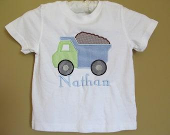 Boutique Boy's Applique Dump Truck Construction Shirt