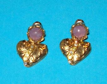 Vintage 1950s Gold Crystal Heart Drop Earrings
