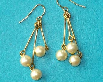 Pearl and Gold Dangle Earrings - June Birthstone