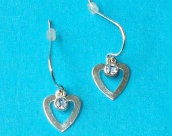 Vintage 1980s Pretty Blue Rhinestone Heart Earrings
