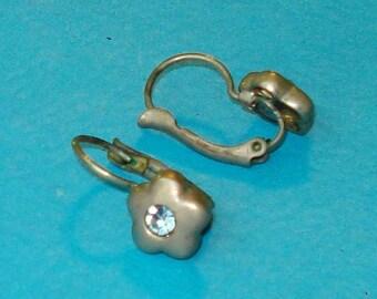 Vintage 1960s Silver and Powder Blue Rhinestone Flower Earrings