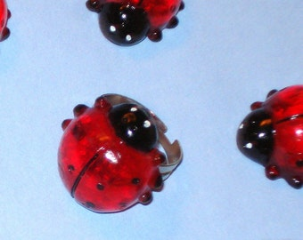 LAST ONE! Red Ladybird Ladybird Fly Away Home - Glass Charm Ladybug Adjustable Ring