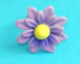 May Flowers - Purple and Yellow Daisy Adjustable Ring
