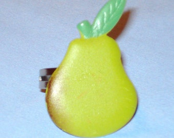 Pear Passion Green Farmers Market Cute Fruit Adjustable Food Charm Ring