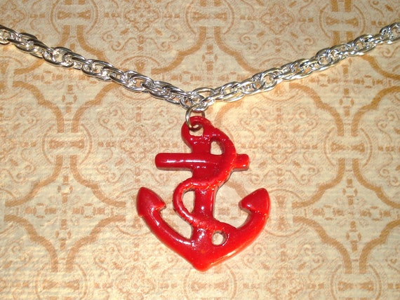 LAST ONE! Anchors Away - Red and Silver Rockabilly Bling Pendant Necklace