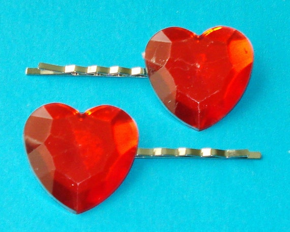 LAST ONE! Big Love - Giant Red Heart Hair Pins - Set of 2