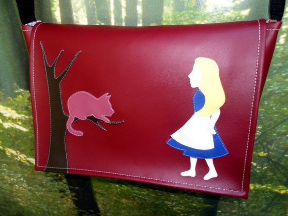 Alice in Wonderland Burgundy Vinyl Messenger Bag