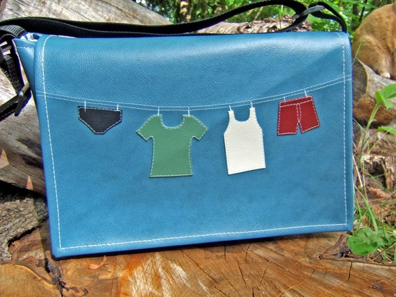Line of Laundry Blue Vinyl Messenger Bag