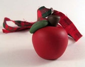 Primitive Red Apple Christmas Ornament