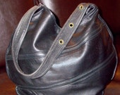 Upcycled Black Leather Hobo Soft & Buttery Shoulder Bag