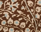 Aqua and Chocolate Brown - Birds and Flowers - Fabric