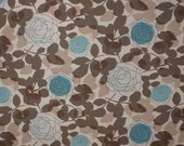Blue Rose Mocha Fabric